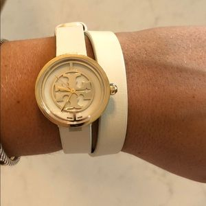 Tory Burch White Leather Wrap Watch